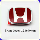 3pcs Jdm Honda Red Logo Front Rear Steering Wheel Emblem Decal For Civic Type R