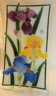 Peggy Karr Art Glass RAINBOW IRIS Irises Rectangular Tray Plate Made in USA Rare