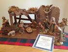 RARE Fontanini Golden Heirloom Limited Edition Nativity Set stable 14 fig