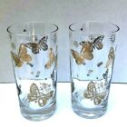 Vintage George Briard Highball Glasses Mid-Century Butterfly Gold Lot of 2