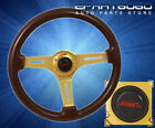 For Nissan 345mm 6 Bolt Classic Dark Brown Wood Grain Steering Wheel Gold Steel