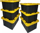 SIX Durabilt 15 Gal Plastic Storage Totes Black Yellow Boxes Lid Container Bins