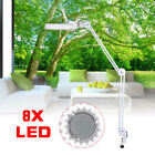 LED 8X Desk Table Clamp Mount Magnifier Lamp Magnifying Glass Lens Diopter 18W