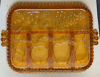 Indiana Glass Amber Divided Fruit Platter Relish Tray Dish Vintage