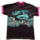 Womens L VINTAGE 80s SEA WORLD Retro Tee T Shirt Sharks Tropical Fish
