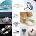 925 Silver Love Heart Women Wedding Engagement Ring Personalized Band Jewelry