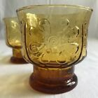 2 VINTAGE Amber LIBBEY Country Garden DAISY Floral Embossed Juice Glass 1970s