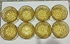 8 Vintage ANCHOR HOCKING Honey Gold Medallion Dessert, Ice Cream, Fruit Bowls