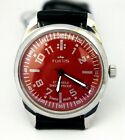 Vintage FORTIS Hand-winding Red Texture 17 Jewel Rare Good Condition Men Watch