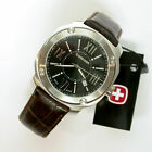 NEW $195 GENTS EDGE INDEX WENGER 43MM BLACK DIAL SS 100MWR STRAP WATCH #41119