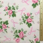 Breast Cancer Awareness Flannel Fabric Pink Ribbon Swish Roses Flowers Green
