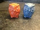 Little Orange and Blue Owl Salt and Pepper Shakers