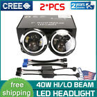 2X 7Inch 40W Round LED Headlights Halo Angle Eyes FIT Jeep Wrangler JK LJ TJ CJ