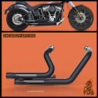Fit Harley Softail 2012 2017 Deluxe FLSTN Dual Pipes Muffler Exhaust Set Black 2