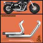 Fit Harley Dyna 2012 2017 Dyna Wide Glide FXDW Dual Pipes Muffler Exhaust C1
