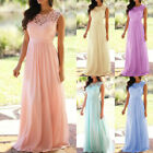 Women Lace Chiffon Bridesmaid Wedding Prom Ball Gown Formal Evening Maxi Dresses