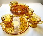 Vintage Amber Colony Whitehall Cubist Pattern 8 Piece Snack Set NEW