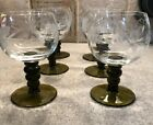 Vintage German Etched Grapes with Leaves on a Green Stem Wine Glasses Set of 6