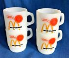 4 Vintage Good Morning McDonald's Fire King Mugs Cups Anchor Hocking Milk Glass
