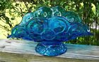 Stars Glass Banana Boat Compote Marked