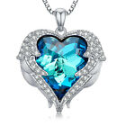 Angel Wings Heart Pendant Necklace made with Swarovski Crystal Blue Gift