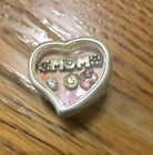 New Silver Heart Shape Stretch Ring For MOM Gold Copper Floating Heart Charms