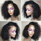 Short Curly Black Glueless Lace Front Wig Brazilian Human Hair Wigs Pre-Plucked