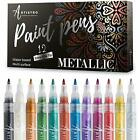 Set of 12 Metallic Acrylic Paint Markers for Rock Painting Stone Ceramic Glas