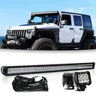 54INCH 312W LED Light Bar Combo+4 18W For Jeep Wrangler JK YJ CJ LJ TJ 52