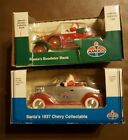 (2) Santa's 29 Roadster, 37 Chevy Amoco Coin Banks Collectable Limited Edition