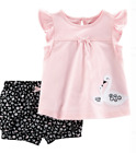 Baby Girl Swans  Shorts 2 Piece Outfit NWT Pink Black White Carters 3 6 9 24