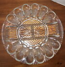 Vintage Anchor Hocking Clear Glass Deviled Egg relish Plate Tray Platter