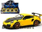 Maisto 124 Display Porsche 911 GT2 RS Yellow with Carbon Hood 34523 New Diecast
