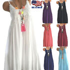 Plus Size Womens Summer Lace Sundress Sleeveless Plain Beach Mini Dress Tops US