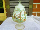 Milk Glass Satin Glass Footed Covered Candy Dish Oriental Peacock Pattern 12