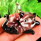 48x40x16mm Carved Black Inlaid Lampwork Glass Cat Pendant Bead S45662