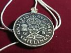 1950 UK 2 SHILLINGS Baby Boomer Birth year Pendant on 18 925 Silver Snake Chain