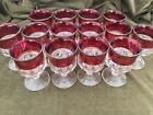 Tiffin Glass Kings Crown Ruby Red Flash Thumbprint Stemmed Goblet Lot Of 15
