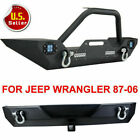 Front Rear Bumper W LED Lights Winch Plate D rings Fit 87 06 Jeep Wrangler TJ YJ
