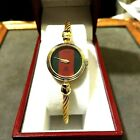*GUCCI* 2047-L 18K YGP BANGLE CABLE 'G/R/G' DIAL LADIES SWISS WATCH *L@@K*!!