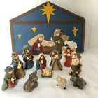 Mini Nativity Resin Figurines Set of 11 Pieces with Felt Stable Picture Box