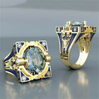 Women Men 18K Gold Plated Topaz Blue Ring Wedding Jewelry Couple Gift Size6 10