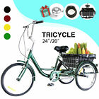 24 20 Adult Tricycle 3 Wheel Trike Cruiser Bicycle w Basket for Shopping
