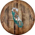 Whiskey Barrel Head Native California Surfing Waves Ocean Typography Home Dcor