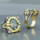 Vintage White Topaz Blue Ring Women Wedding 18K Gold Plated Jewelry Size 6 10