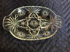 VINTAGE MID CENTURY,OVAL GLASS DIVIDED RELISH DISH STAR BURST PATTERN SCALLOPED