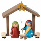 Joy With Stable Natural Brown 5 inch Resin Christmas Nativity Figurines Set of 6