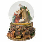 Musical Holy Family Animals Natural Brown 6 inch Glass Christmas Water Globe