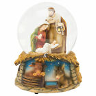 Musical Holy Family Creche Natural Brown 6 inch Glass Christmas Water Globe