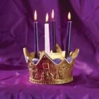 Birth Of The King Advent Gold Toned 9 x 5 Resin Stone Christmas Candle Holder